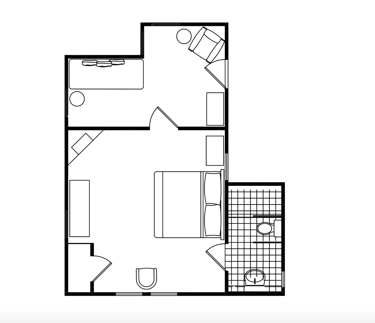 Floor Plan of A Small Sitting Room, A Bedroom and A Bathroom