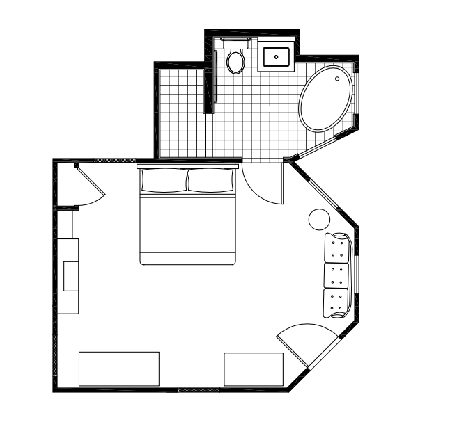 Floor Plan of A Bedroom and A Bathroom