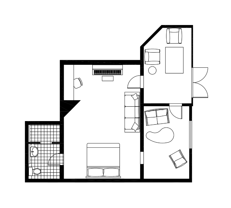 Floor Plan of A Bedroom with Two Small Entertainment Rooms and A Bathroom