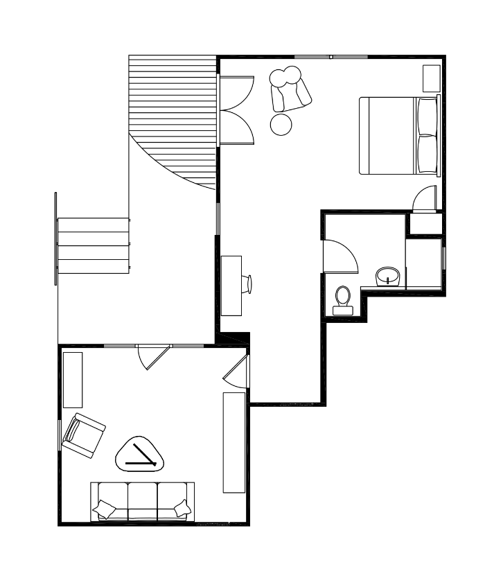 Floor Plan of A Bedroom, A Bathroom, A Deck and A Entertainment Room