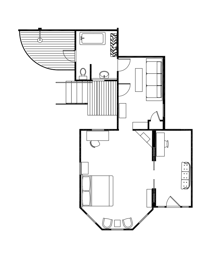 Floor Plan for A Deck, A Bathroom, Two Small Sitting Rooms, A Bedroom